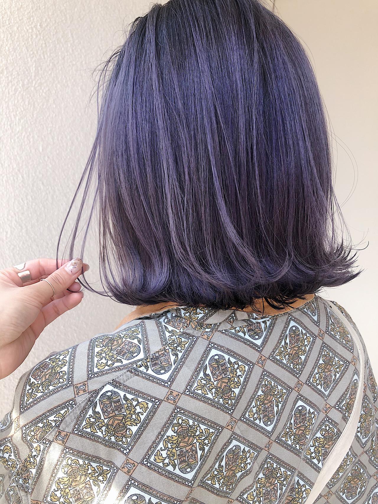 ストリート 切りっぱなしボブ 外ハネ グラデーションカラーヘアスタイルや髪型の写真・画像