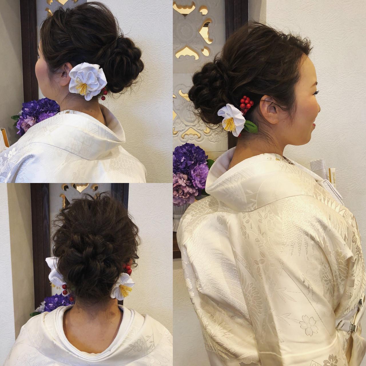 フェミニン ブライダル ヘアアレンジ ロング ヘアスタイルや髪型の写真・画像 | mai / HAIR SALON STELLA