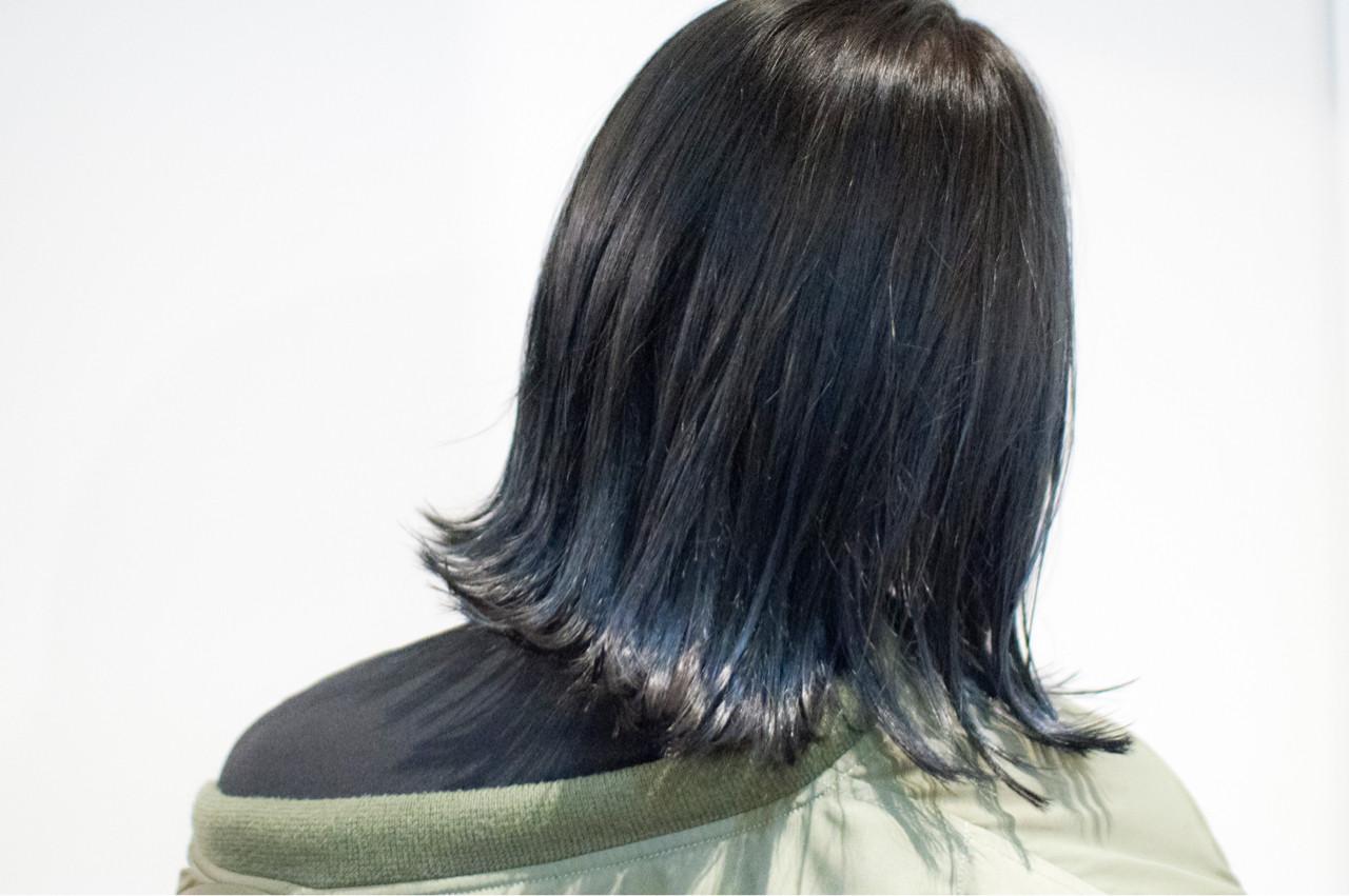 ブルー ブルーアッシュ 暗髪 ネイビーヘアスタイルや髪型の写真・画像