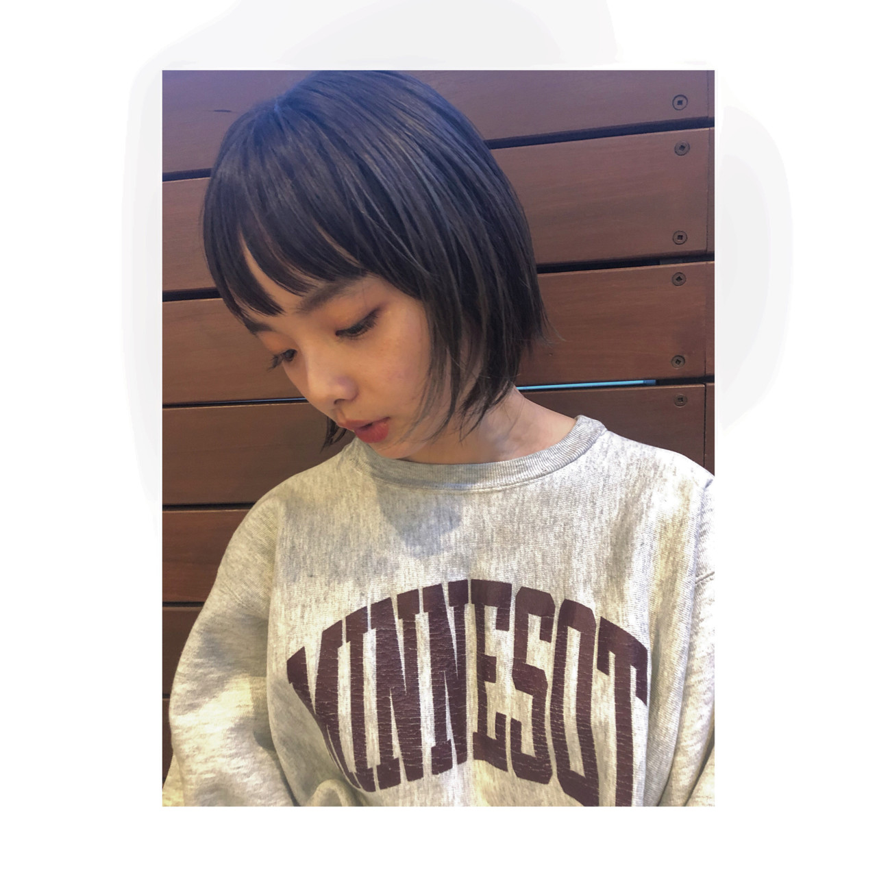 前髪パッツン 切りっぱなしボブ ミニボブ ボブ ヘアスタイルや髪型の写真・画像 | 百瀬優 / kakimoto arms aoyama店