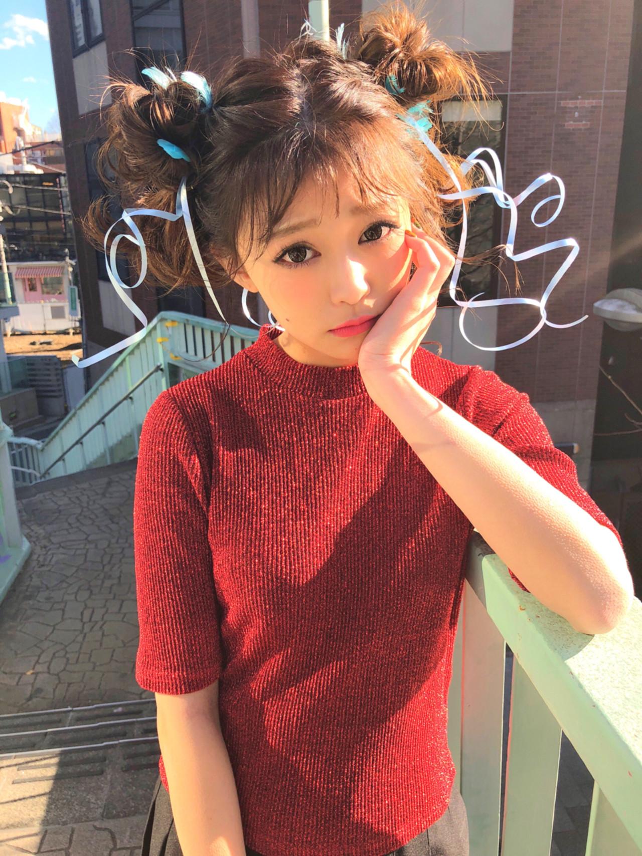 ガーリー ヘアアレンジ ミディアム 謝恩会ヘアスタイルや髪型の写真・画像
