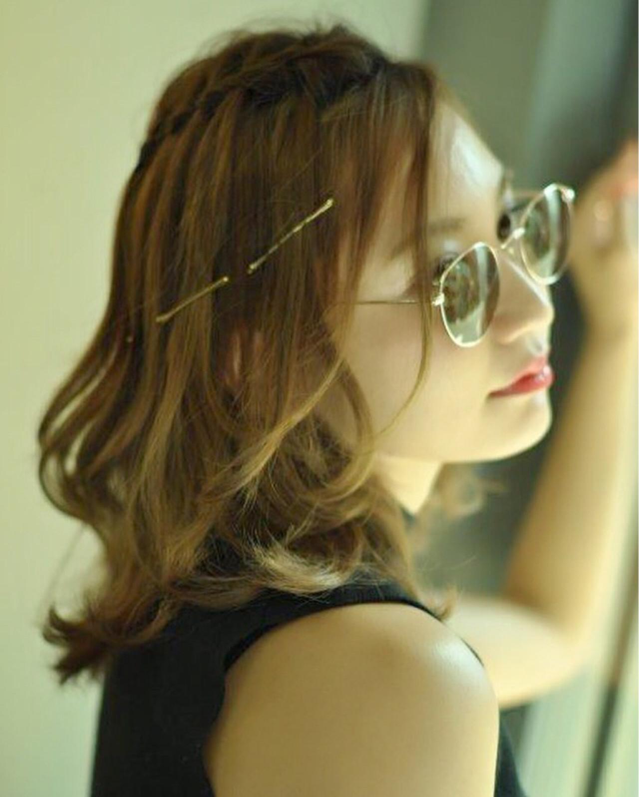 ハーフアップ ショート 簡単ヘアアレンジ ウォーターフォール ヘアスタイルや髪型の写真・画像 | 会沢 学 / stance