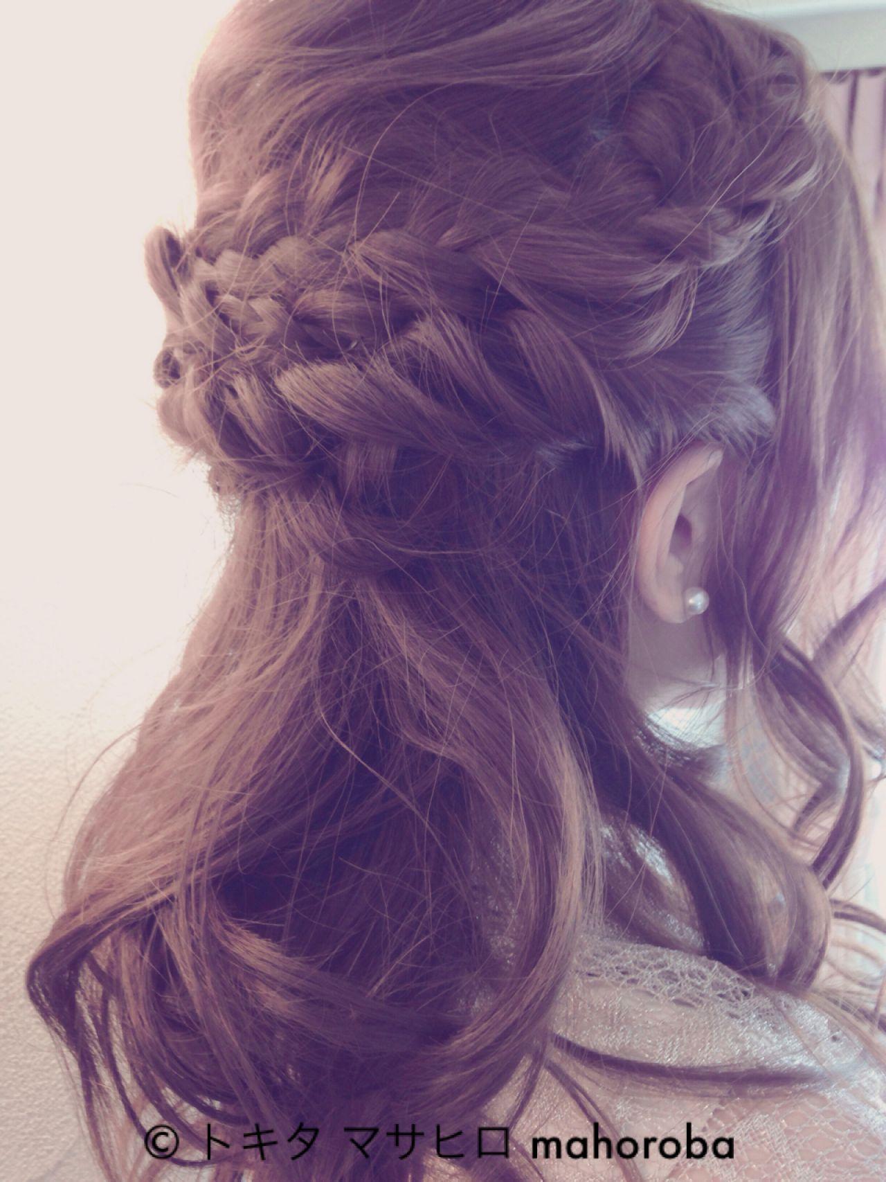 簡単ヘアアレンジ ナチュラル 花 編み込み ヘアスタイルや髪型の写真・画像