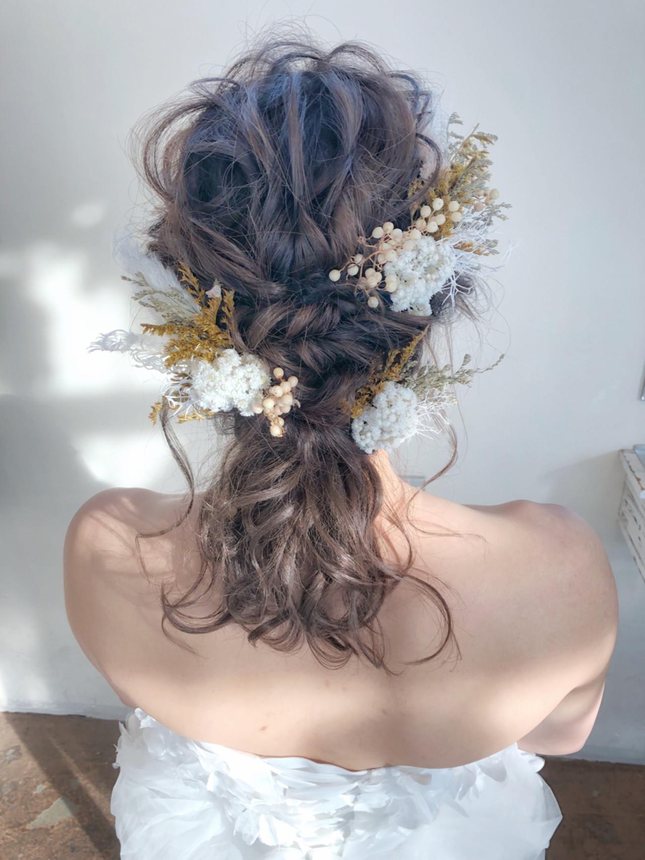 花嫁 ヘアアレンジ ナチュラル ミディアムヘアスタイルや髪型の写真・画像