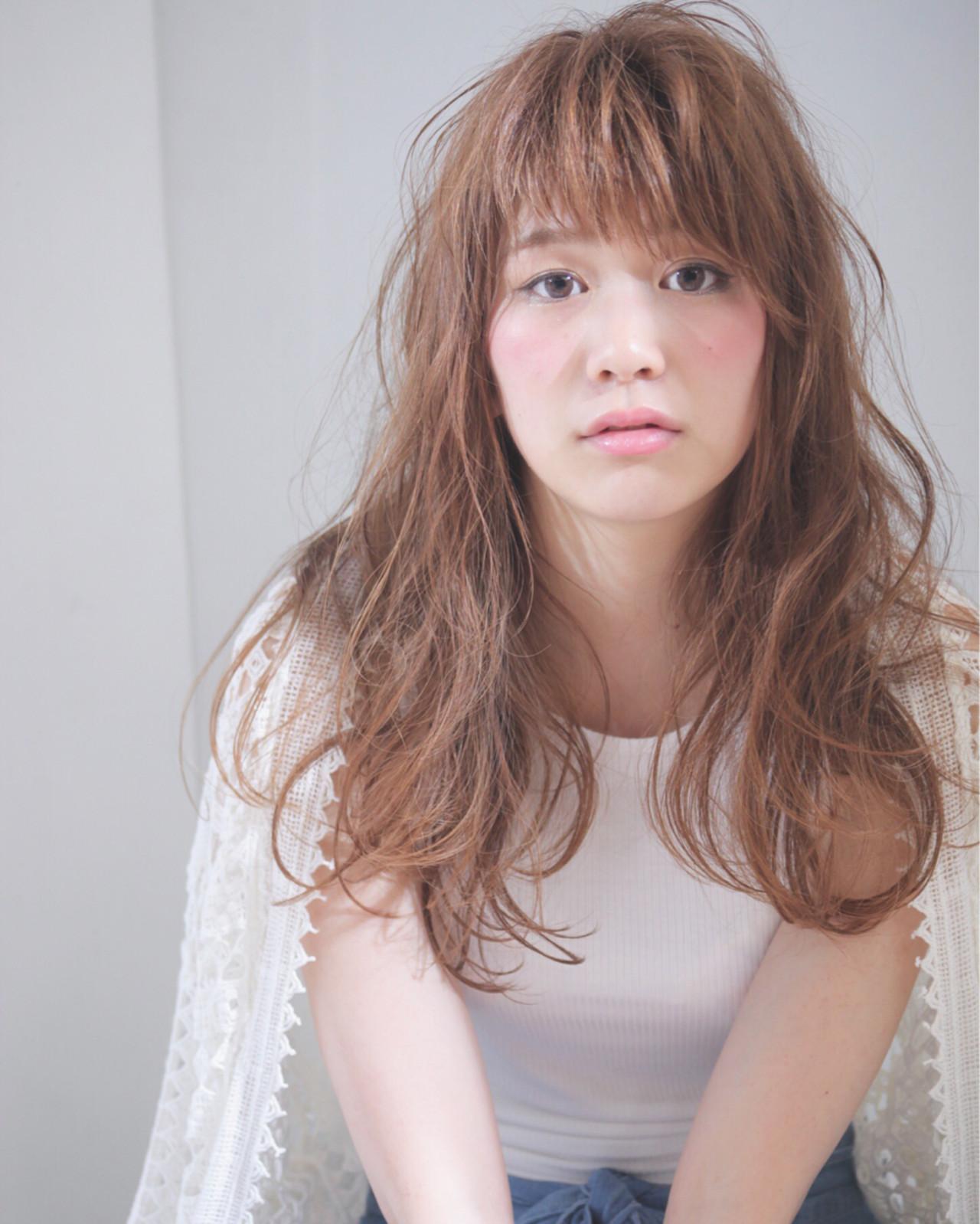 ブラウン 前髪あり セミロング 外国人風 ヘアスタイルや髪型の写真・画像 | 川原一高(カワハラカズタカ) / loty hair design