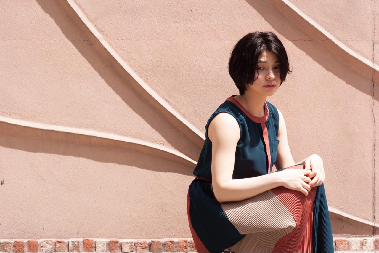 ショート パーマ ニュアンス 小顔 ヘアスタイルや髪型の写真・画像 | 勝田 祐介 / basil pupula