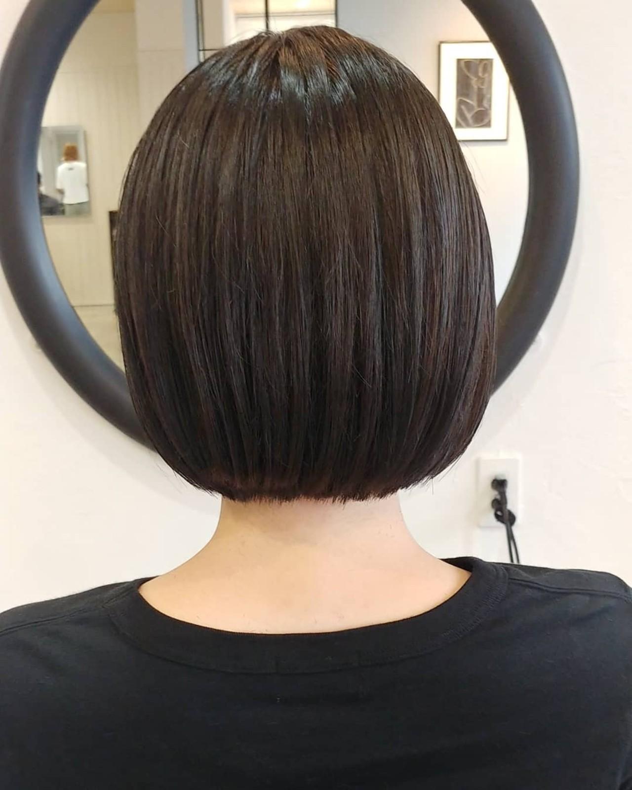 ミニボブ ショートヘア ナチュラル ショートボブ ヘアスタイルや髪型の写真・画像   『ショート、カラーはお任せください』島本 優 / HYKE/sapporo