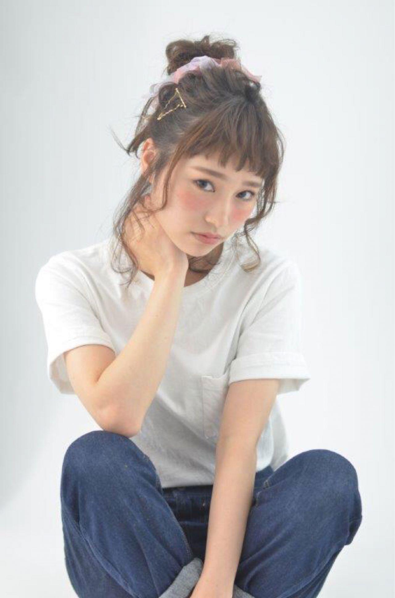 ショート セミロング お団子 簡単ヘアアレンジ ヘアスタイルや髪型の写真・画像 | 坂井望 / macaro hair atlire