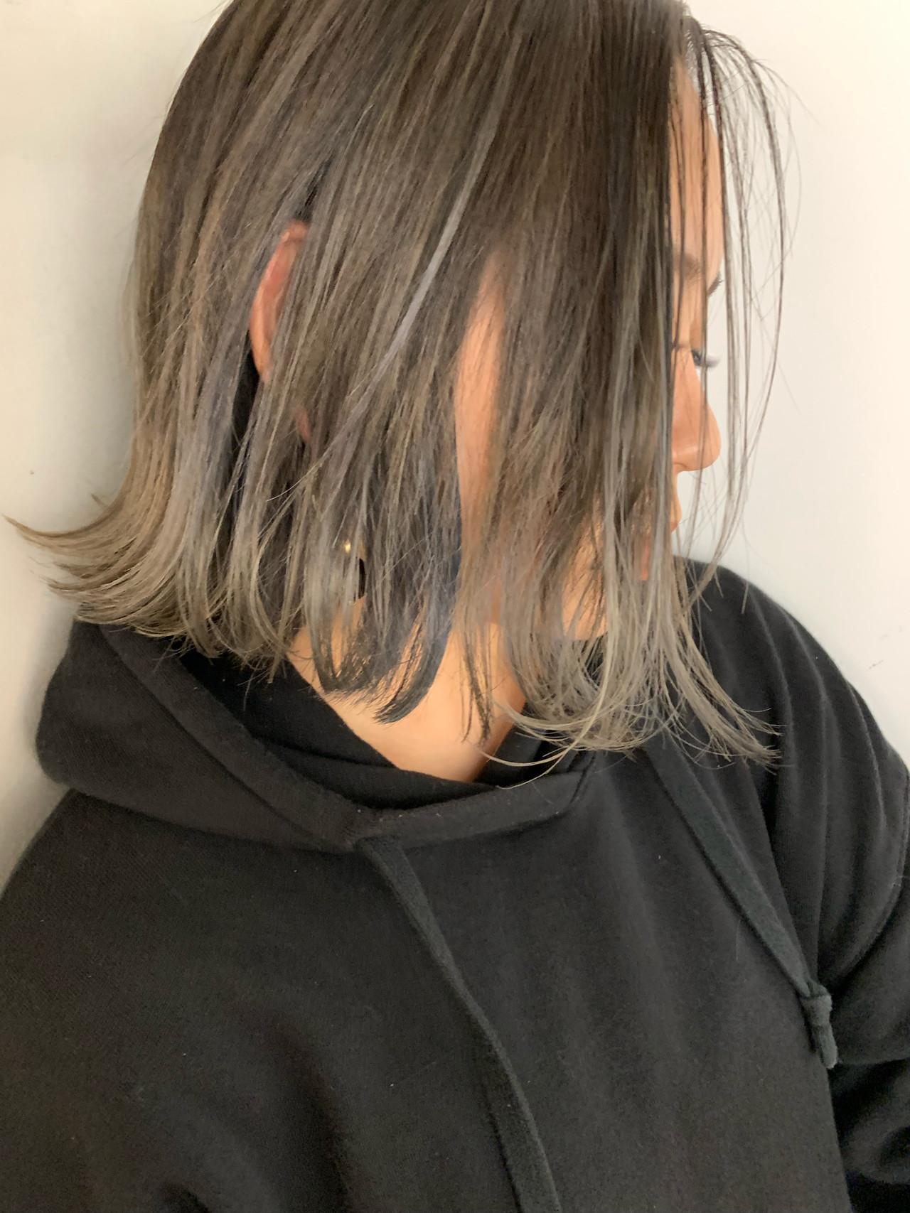 バレイヤージュ アッシュグラデーション 外ハネボブ グラデーションカラー ヘアスタイルや髪型の写真・画像 | MORNING.miya/@1031miya / HAIR MORNING.