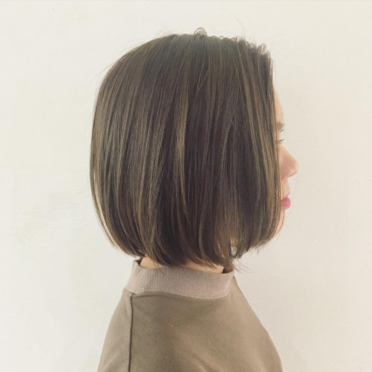 外国人風 透明感 イルミナカラー ブラントカットヘアスタイルや髪型の写真・画像