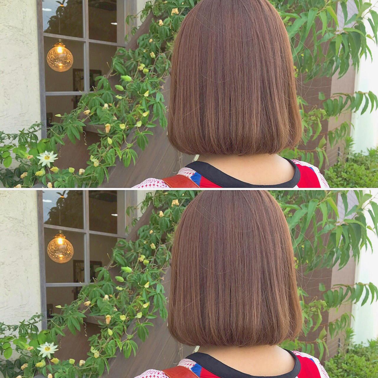ミルクティーベージュ まとまるボブ デジタルパーマ ボブ ヘアスタイルや髪型の写真・画像 | Nakamura Mari / rocca