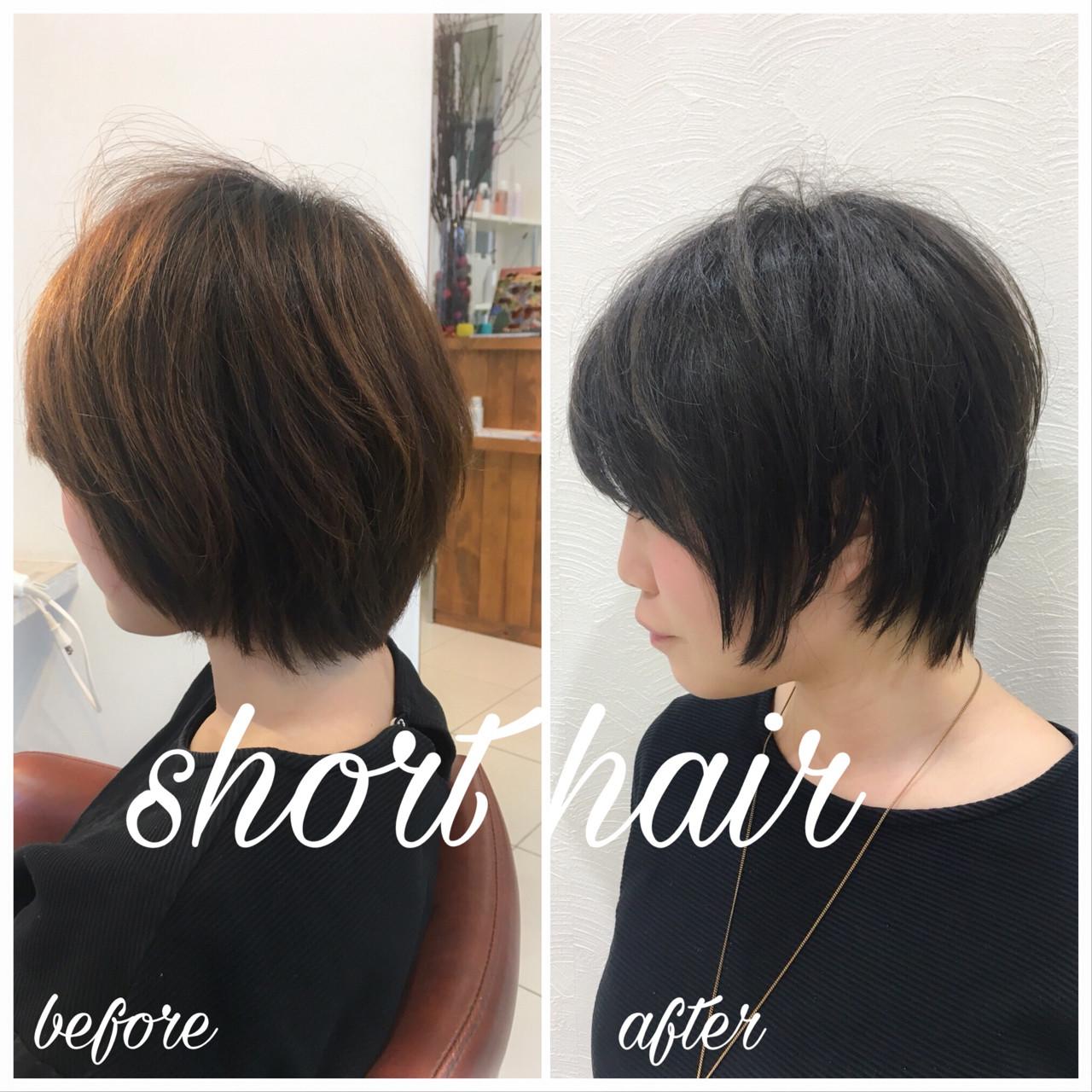 スポーツ ショート 黒髪 オフィスヘアスタイルや髪型の写真・画像