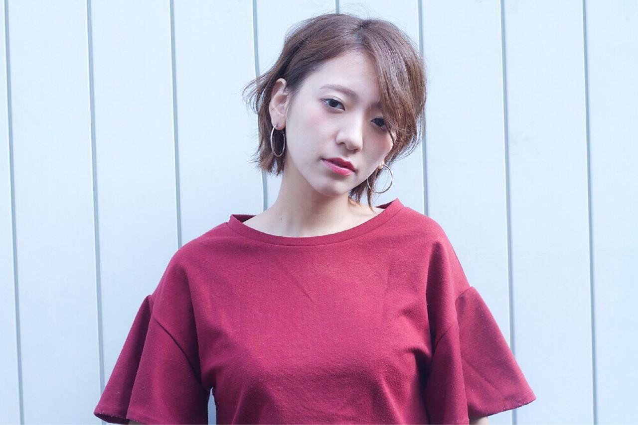 ボブ 抜け感 ショート 大人かわいい ヘアスタイルや髪型の写真・画像 | HIKARI /