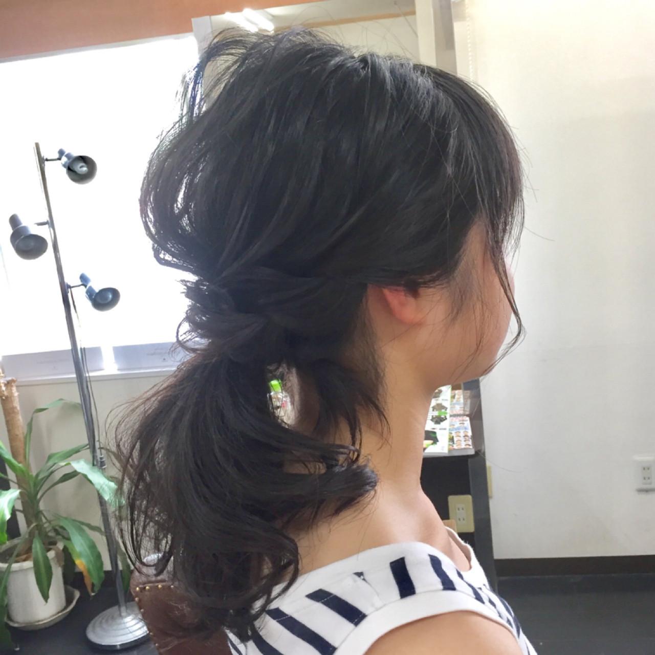 ナチュラル 簡単ヘアアレンジ ヘアアレンジ セミロングヘアスタイルや髪型の写真・画像
