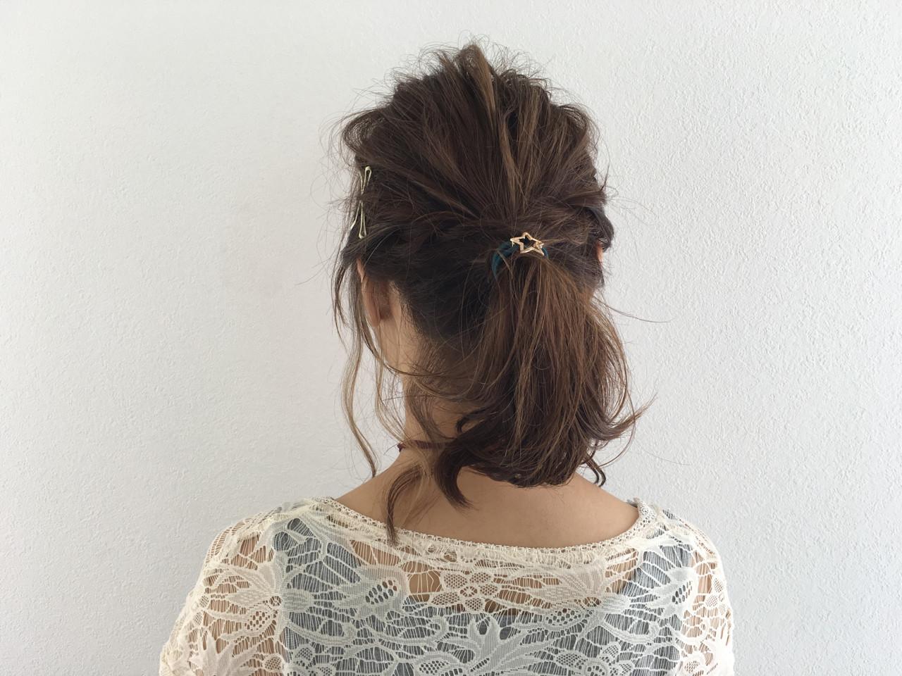 大人女子 ヘアアレンジ ボブ ポニーテール ヘアスタイルや髪型の写真・画像 | Miki /