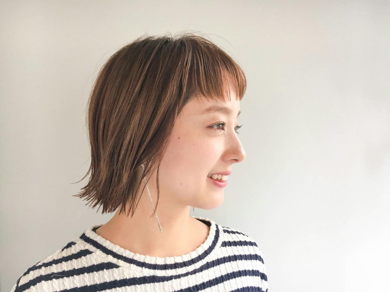 ハイライト 抜け感 ショート 切りっぱなし ヘアスタイルや髪型の写真・画像 | asuka /