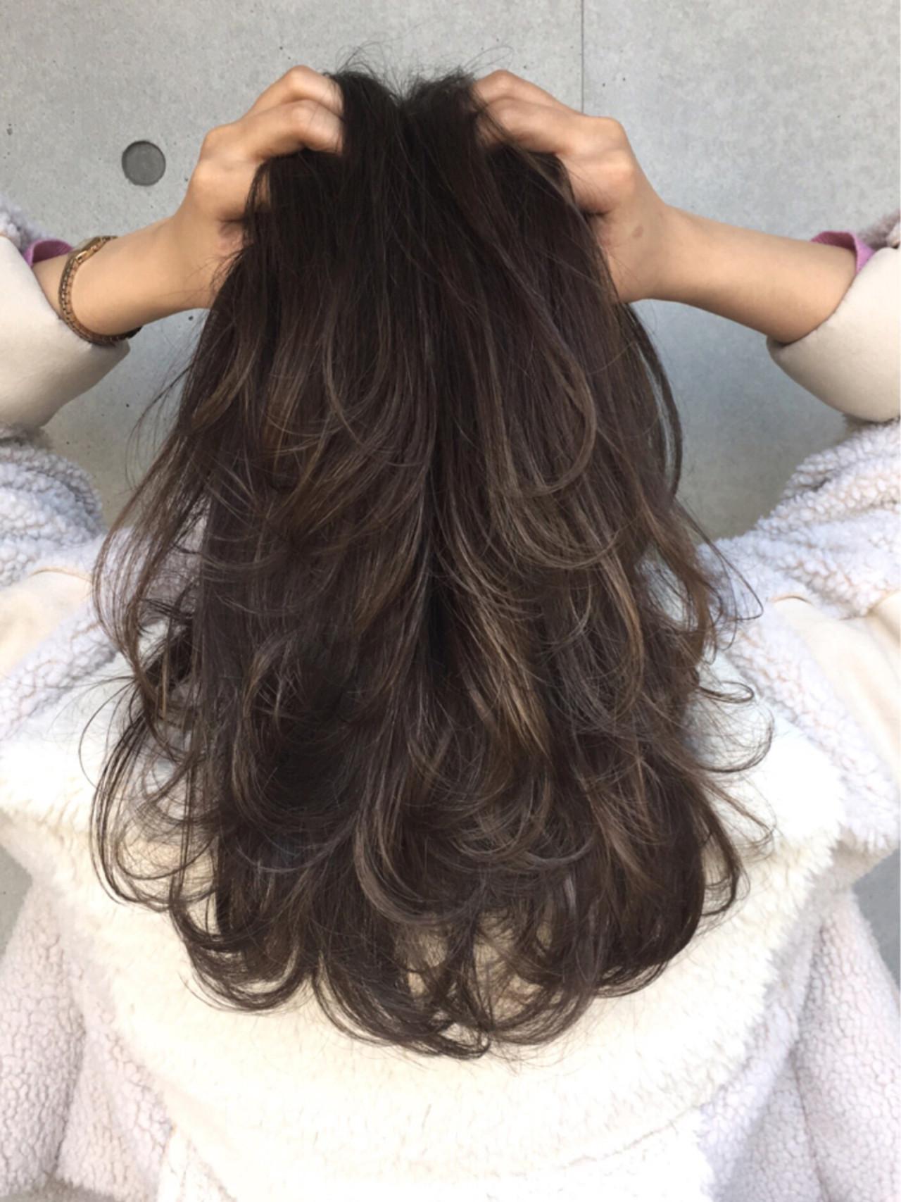 暗髪 セミロング ストリート 外国人風カラーヘアスタイルや髪型の写真・画像