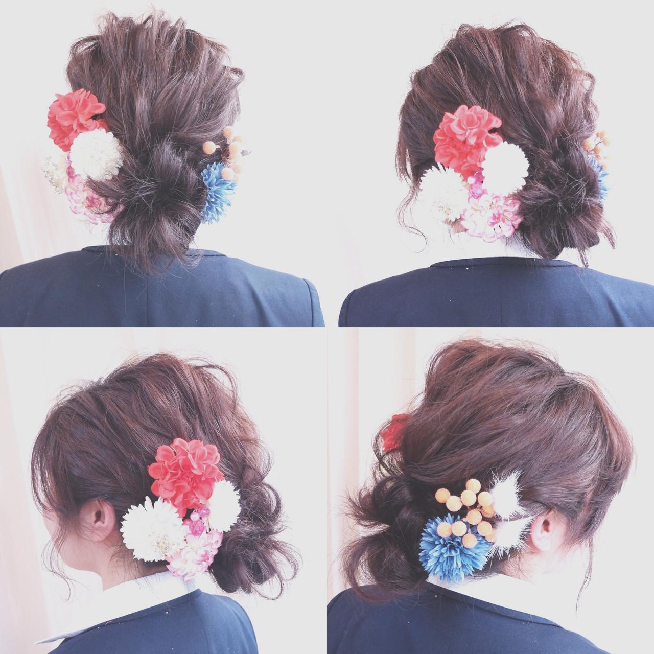 結婚式 ショート ミディアム 編み込み ヘアスタイルや髪型の写真・画像   内田 一也 / hair/nail space a:le