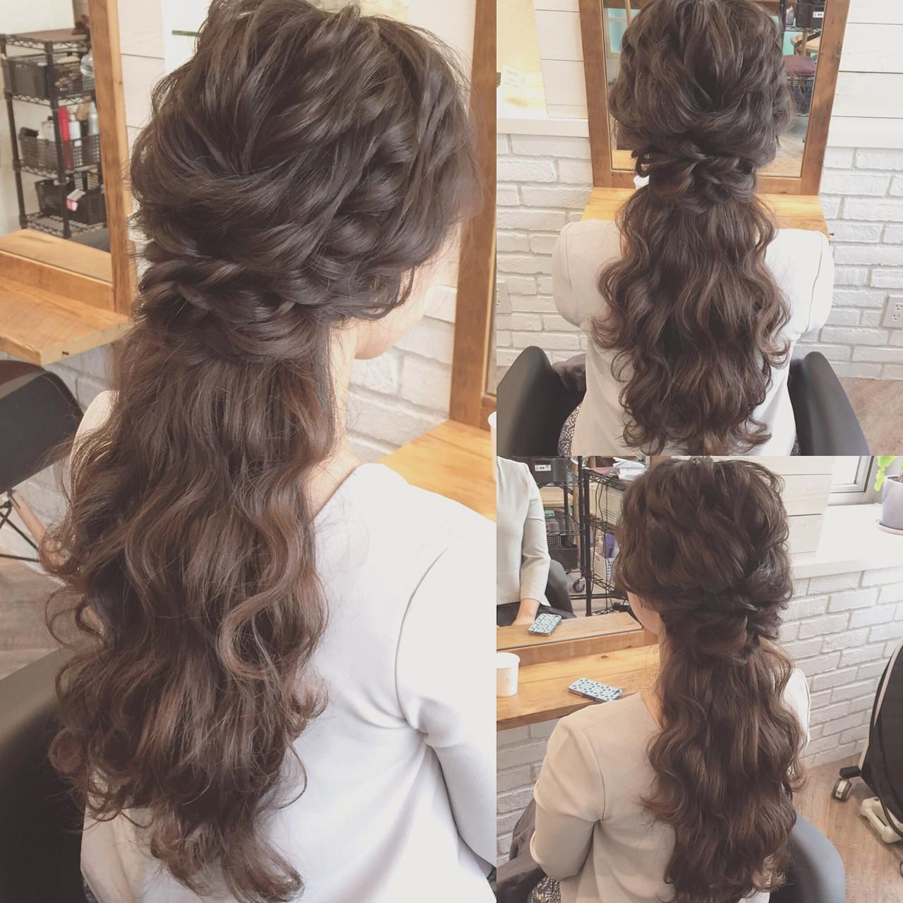 結婚式 ロング 簡単ヘアアレンジ ヘアアレンジ ヘアスタイルや髪型の写真・画像   Kaneko Mayumi / BOTTOMS