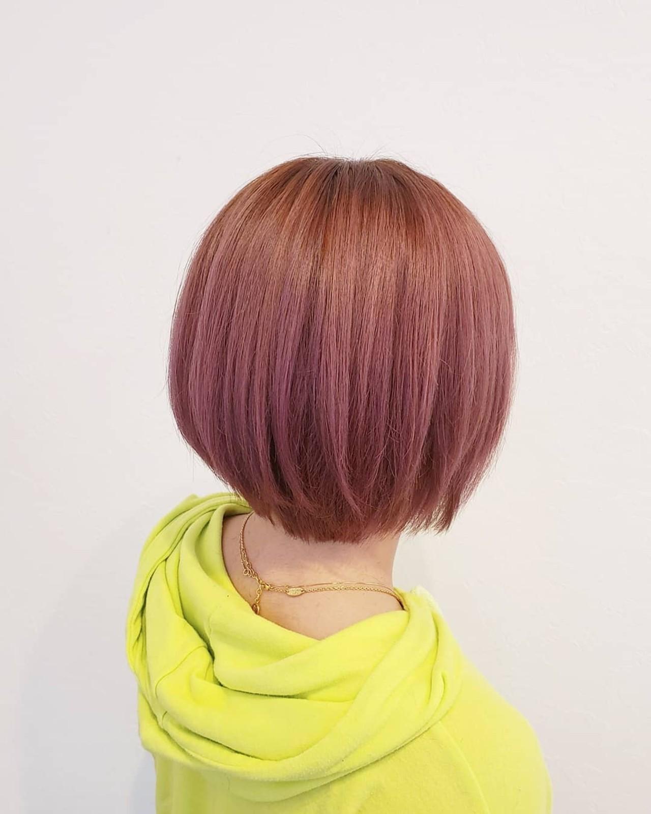 透明感 デート ボブ ガーリーヘアスタイルや髪型の写真・画像
