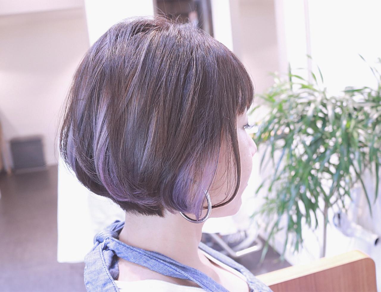 ストリート グラデーションカラー ボブ バレイヤージュヘアスタイルや髪型の写真・画像