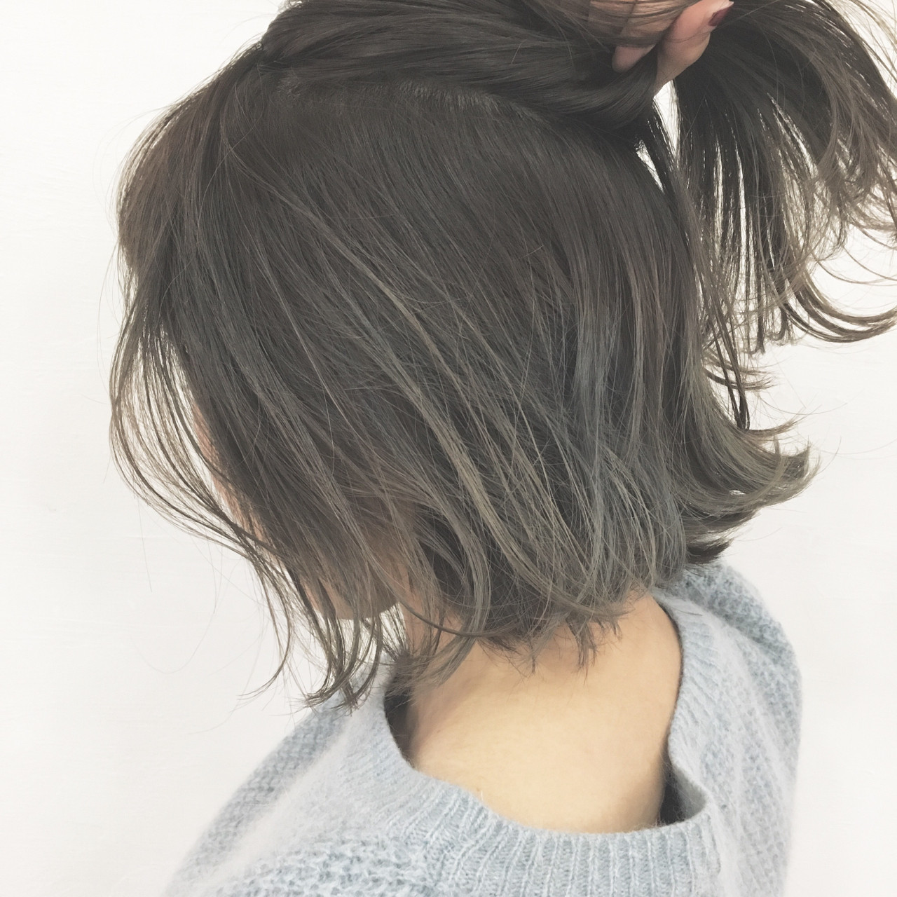 ハーフアップ グレージュ ボブ ナチュラル ヘアスタイルや髪型の写真・画像 | 津村正和/大阪心斎橋 / freelance