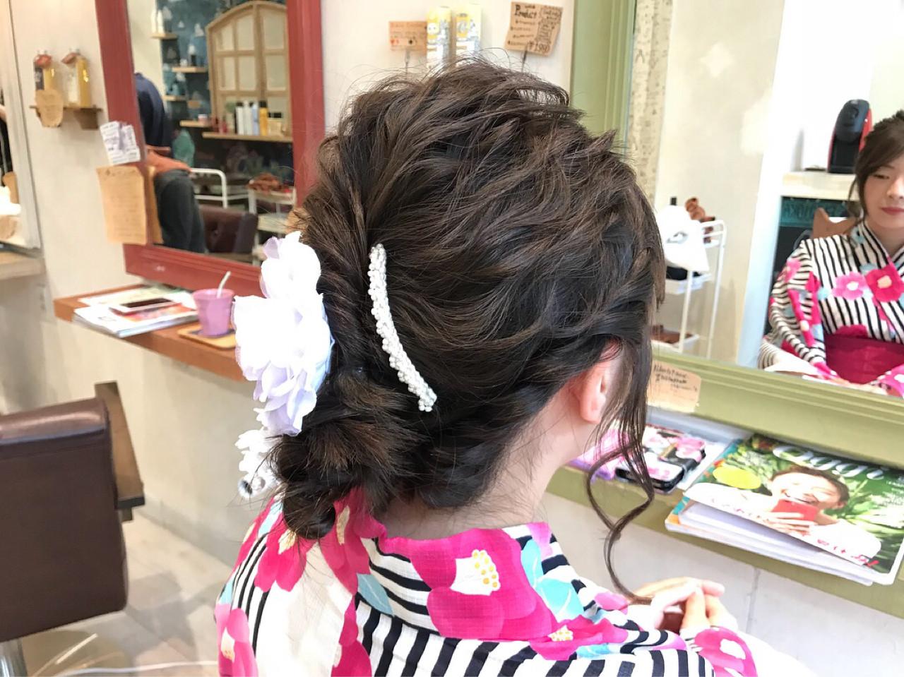 涼しげ 花火大会 セミロング 夏ヘアスタイルや髪型の写真・画像