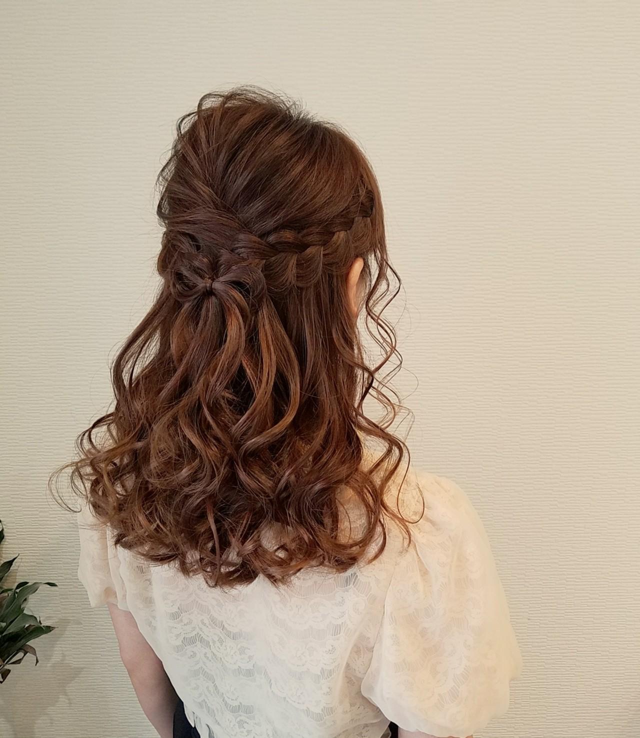 ヘアアレンジ ハーフアップ 編み込み ガーリー ヘアスタイルや髪型の写真・画像 | mai / HAIR SALON STELLA