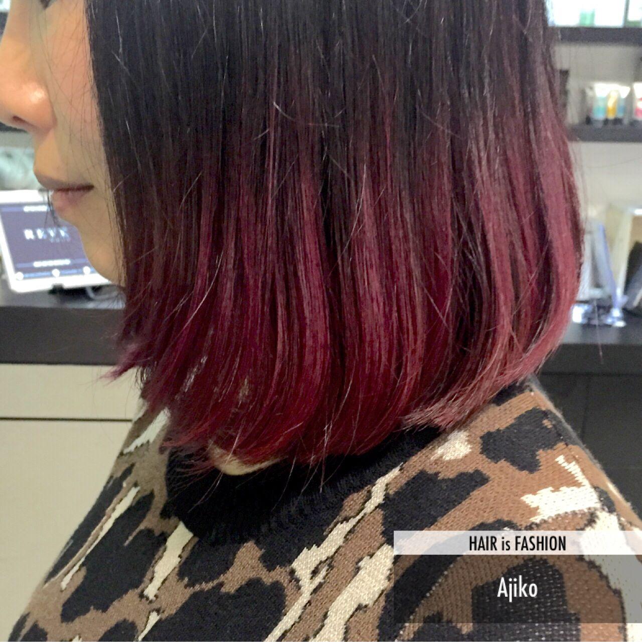 レッド ストリート グラデーションカラー ボブ ヘアスタイルや髪型の写真・画像 | Ajiko / Revehair