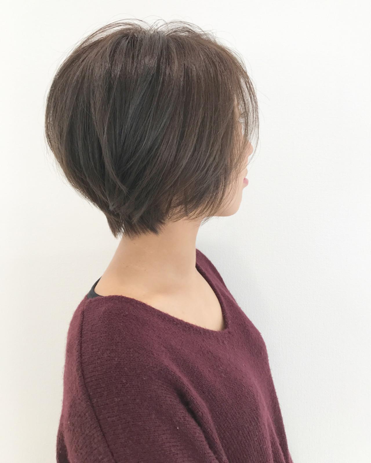 ショート ナチュラル 小顔 似合わせヘアスタイルや髪型の写真・画像