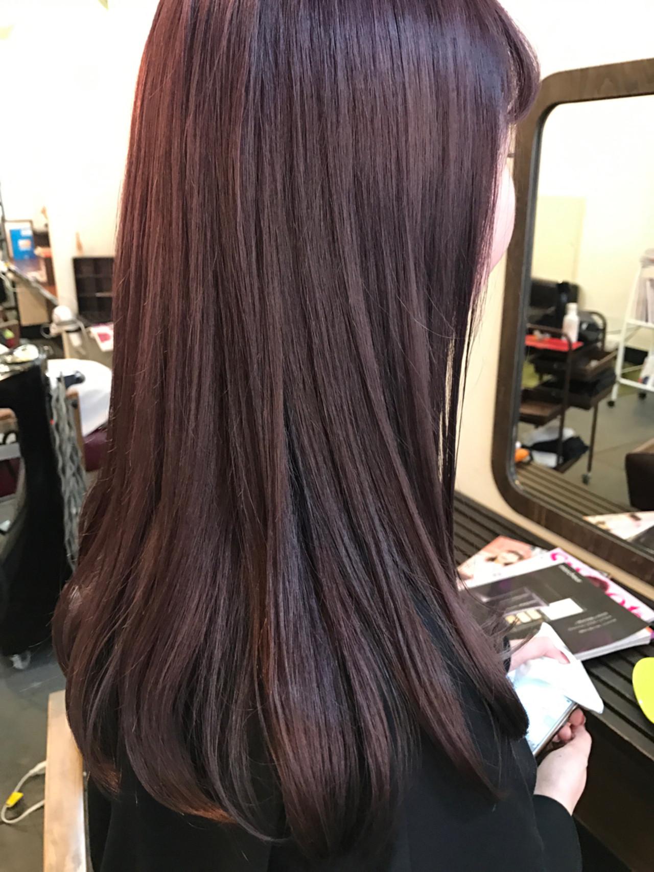ミルクティー セミロング ベリーピンク ピンクヘアスタイルや髪型の写真・画像