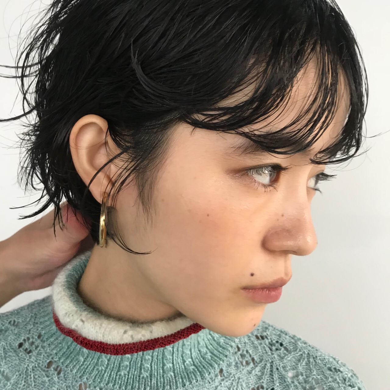 大人女子 前髪パーマ ナチュラル ショートボブヘアスタイルや髪型の写真・画像