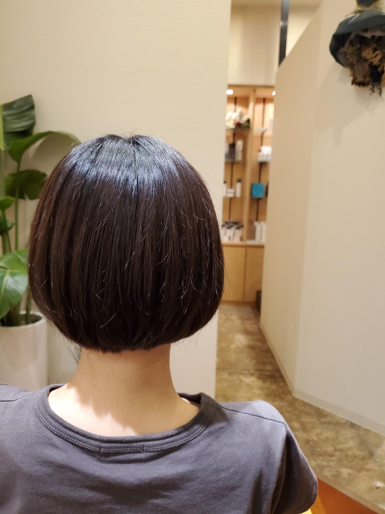 ショートボブ ナチュラル 小顔 小顔ヘアヘアスタイルや髪型の写真・画像