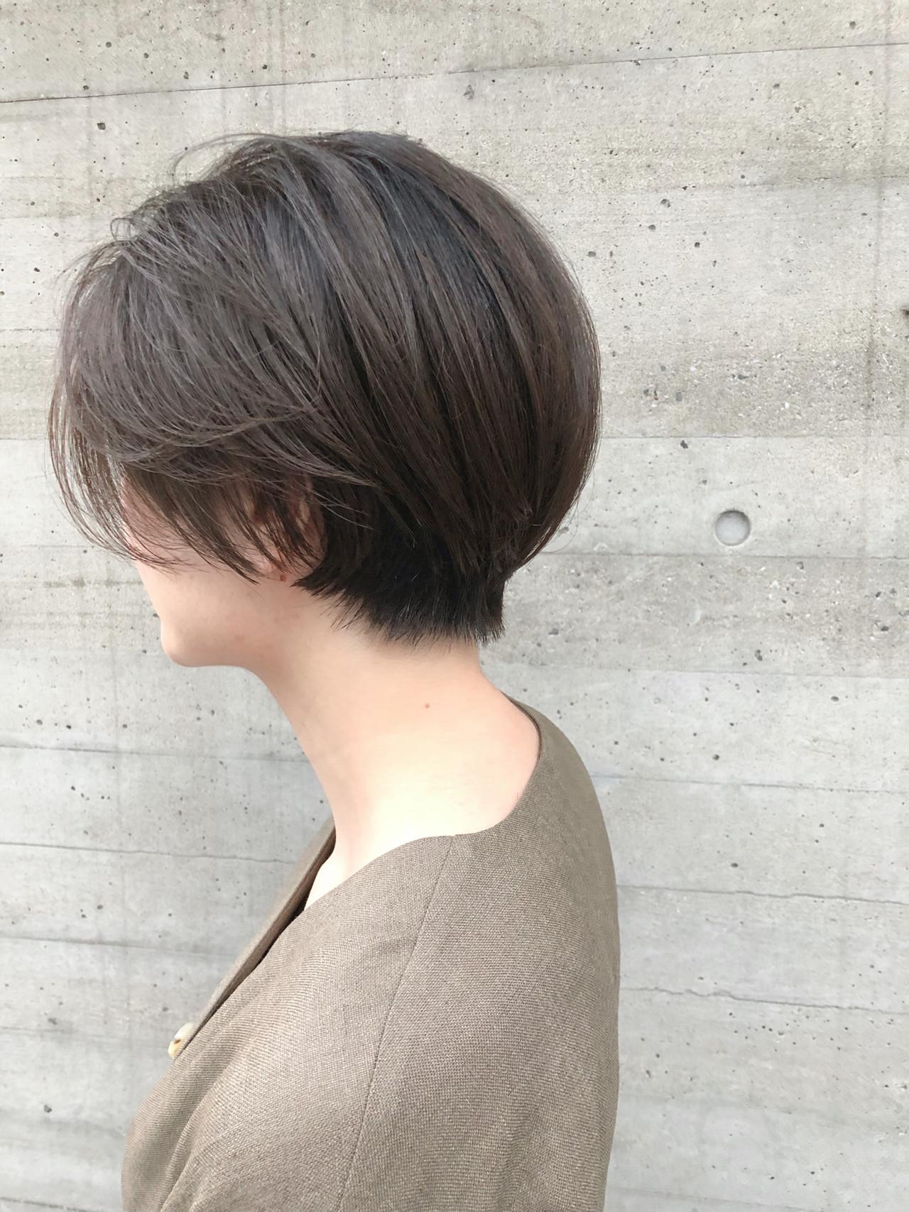 ナチュラル ショートボブ ショート ハンサムショート ヘアスタイルや髪型の写真・画像 | 山庄司 祐希 / KATE  omotesando