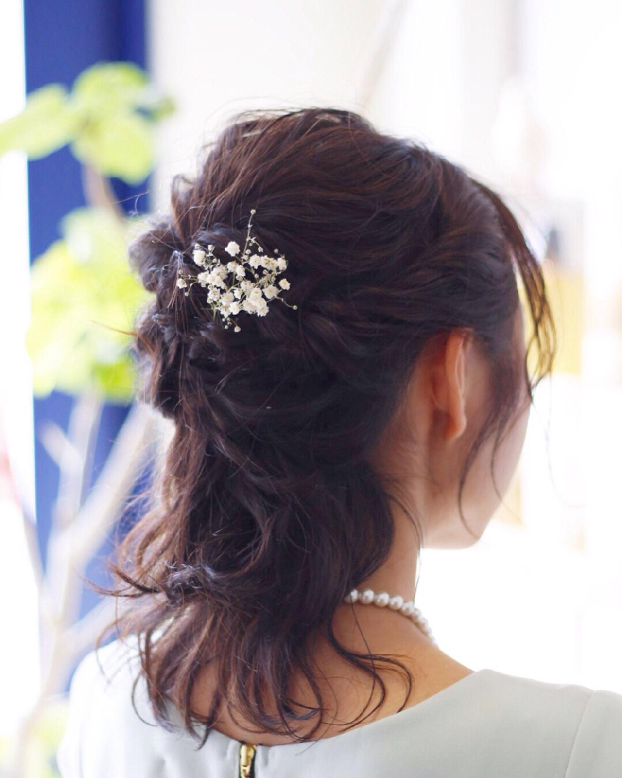 エレガント ヘアアレンジ 結婚式 ハーフアップヘアスタイルや髪型の写真・画像
