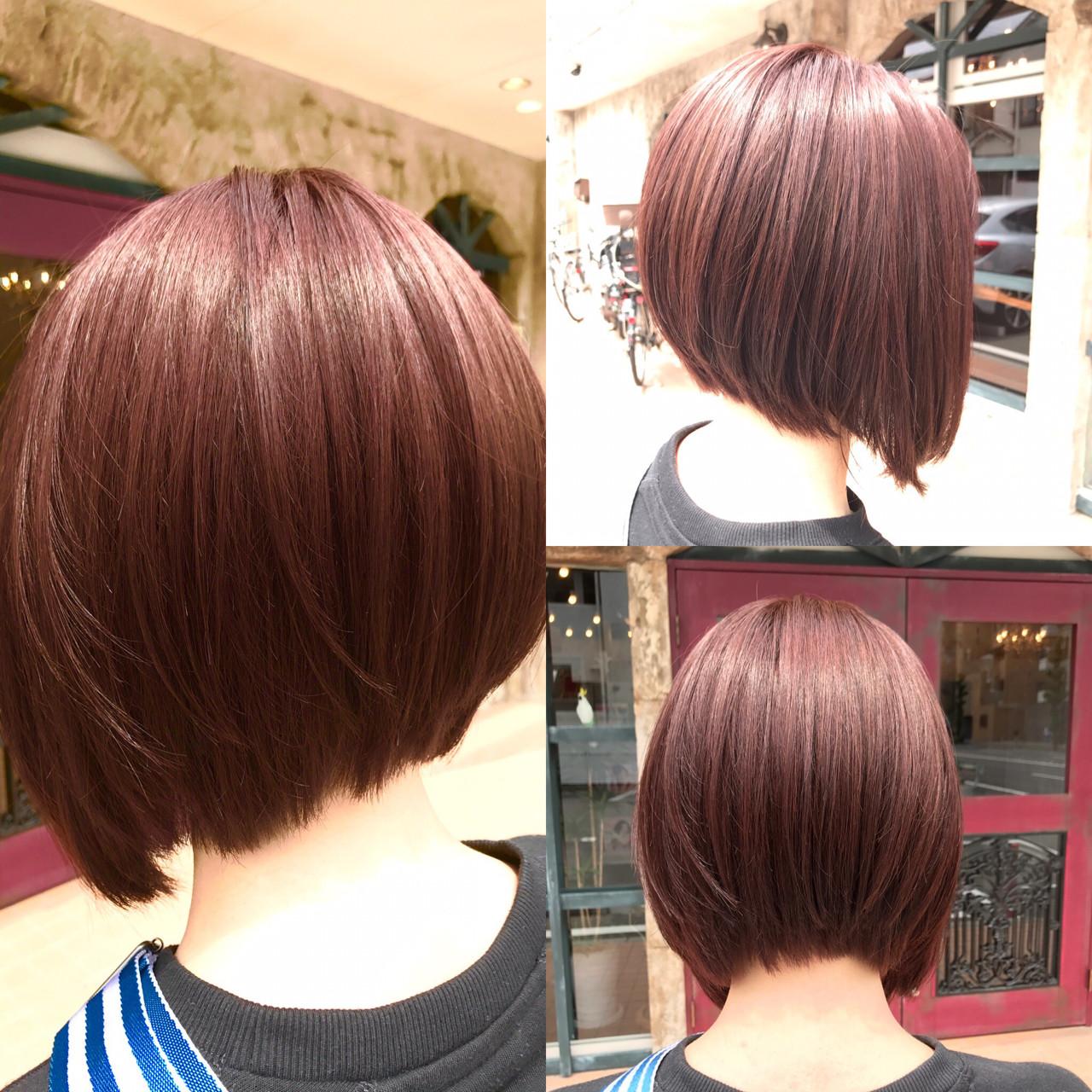 イルミナカラー ピンク 外国人風カラー ボブヘアスタイルや髪型の写真・画像