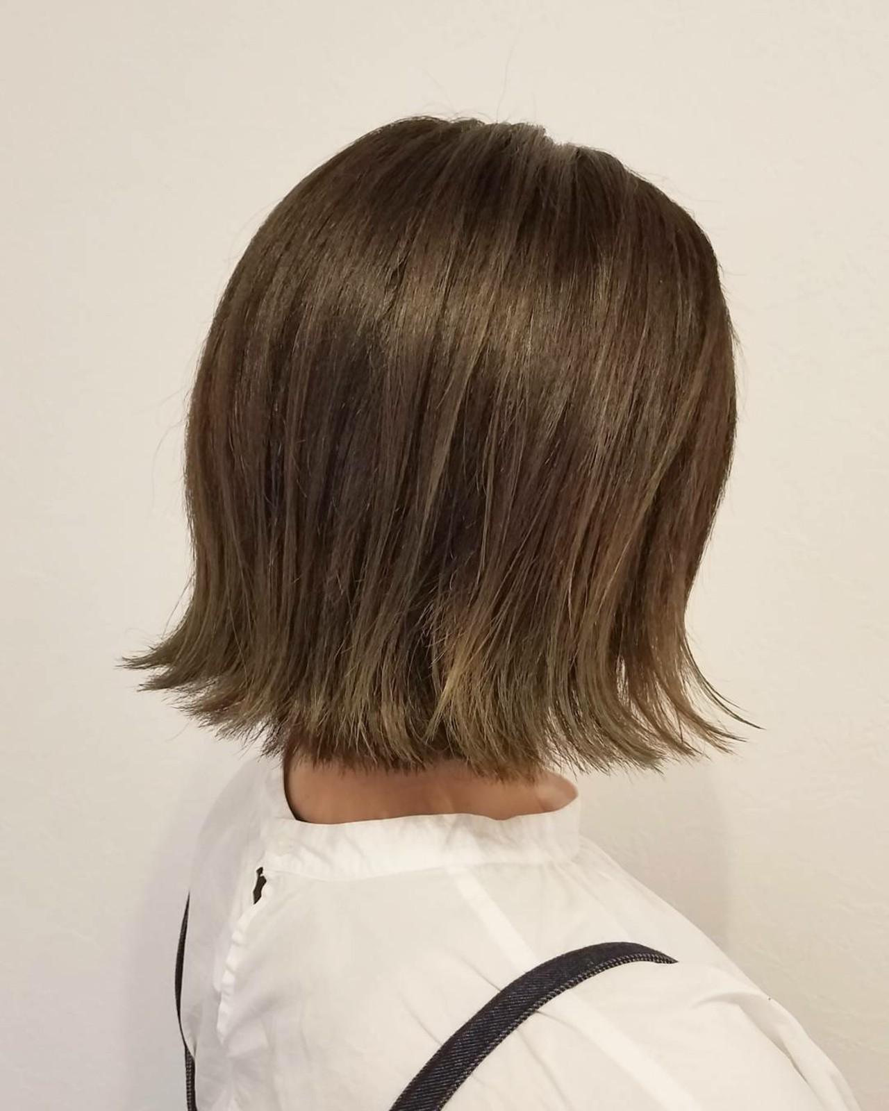 デート 秋 ボブ 透明感 ヘアスタイルや髪型の写真・画像 | 浅原 有輝 / rough