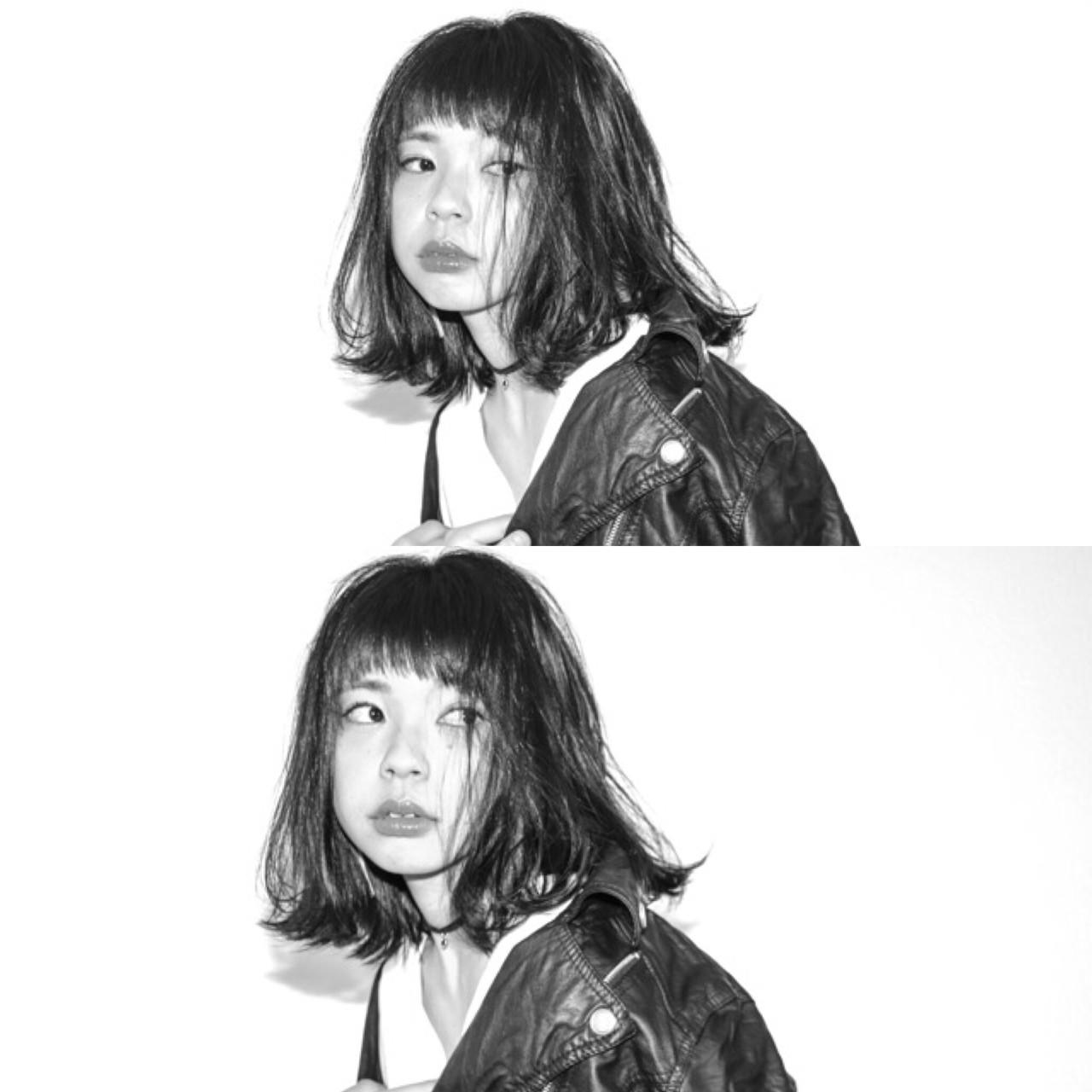 モード パーマ 黒髪 デートヘアスタイルや髪型の写真・画像