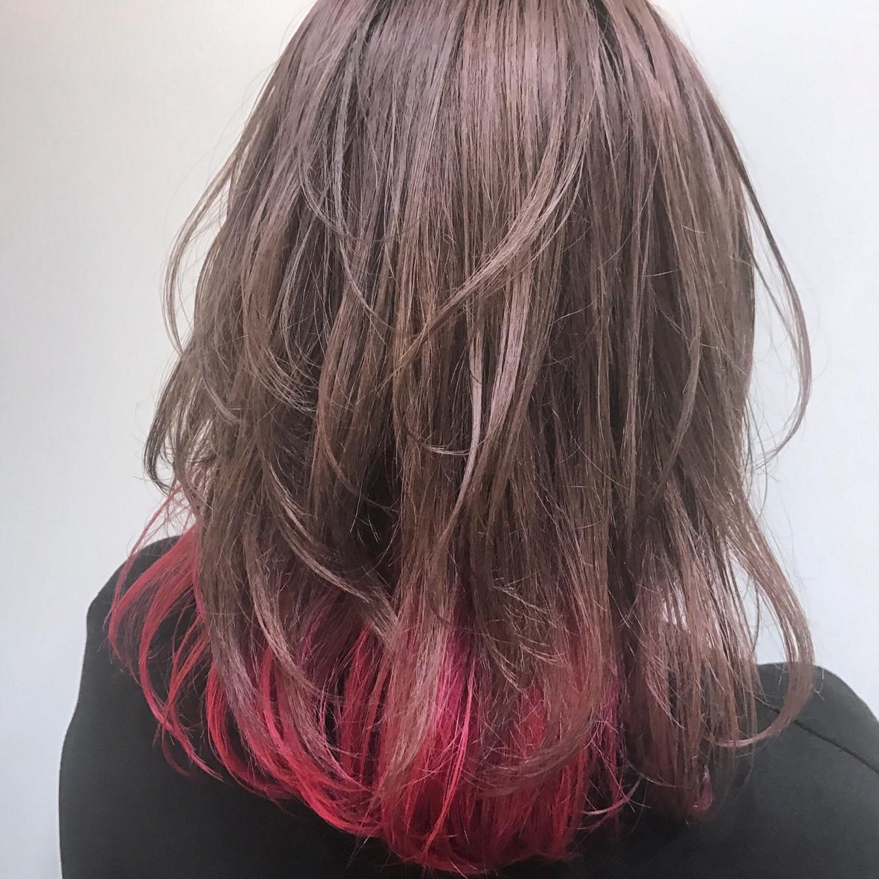 アッシュ フェミニン ハイトーン ピンクヘアスタイルや髪型の写真・画像