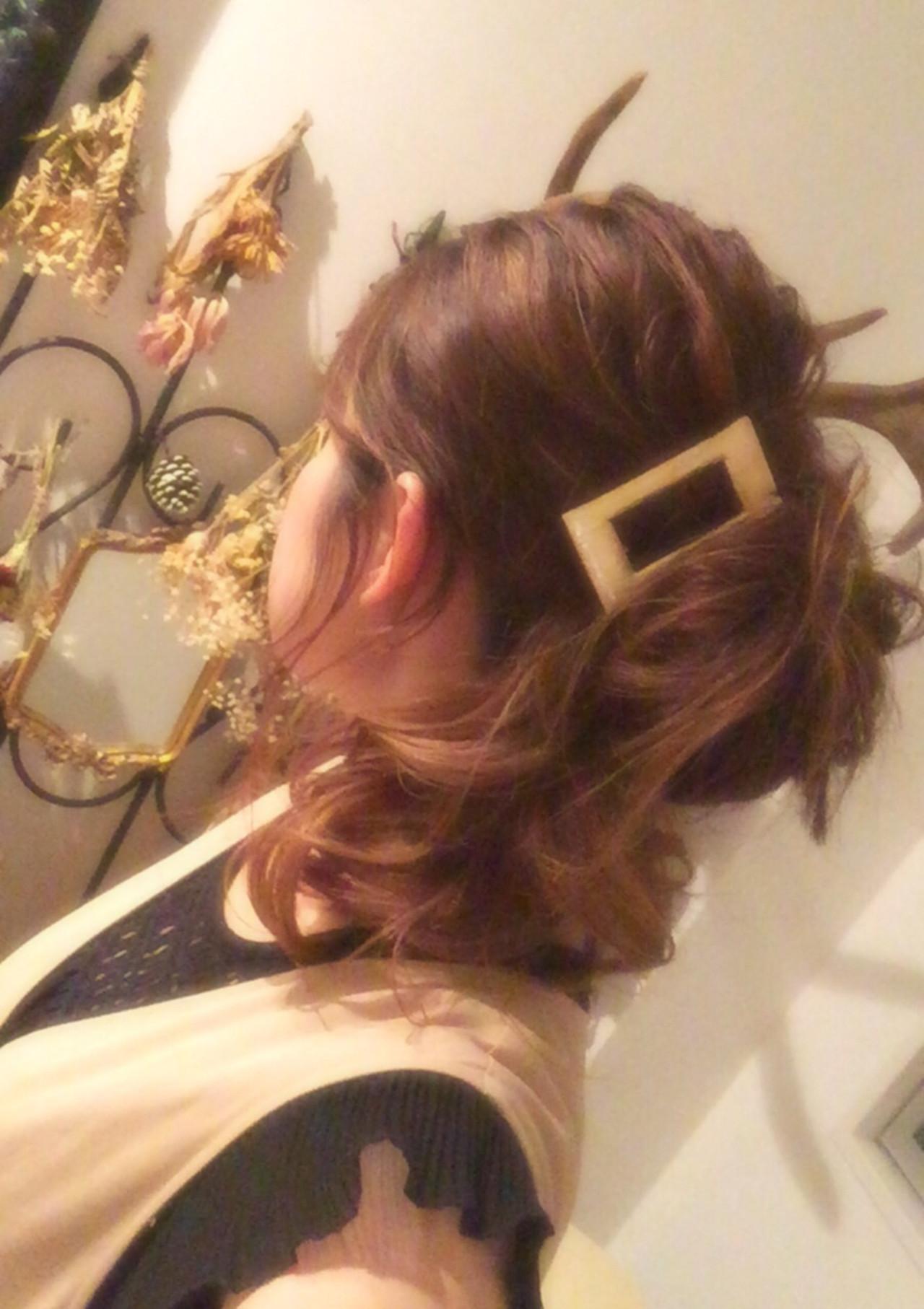 ラフ ショート ヘアアレンジ 簡単ヘアアレンジ ヘアスタイルや髪型の写真・画像 | ゆうき / &Nicole