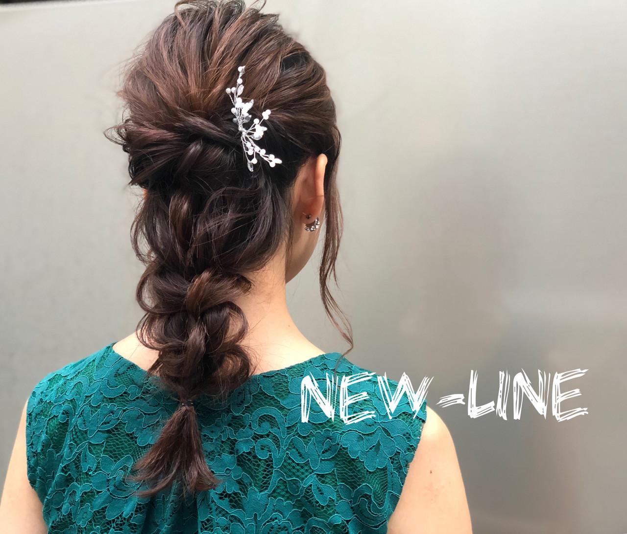 セミロング フェミニン ヘアアレンジ デートヘアスタイルや髪型の写真・画像