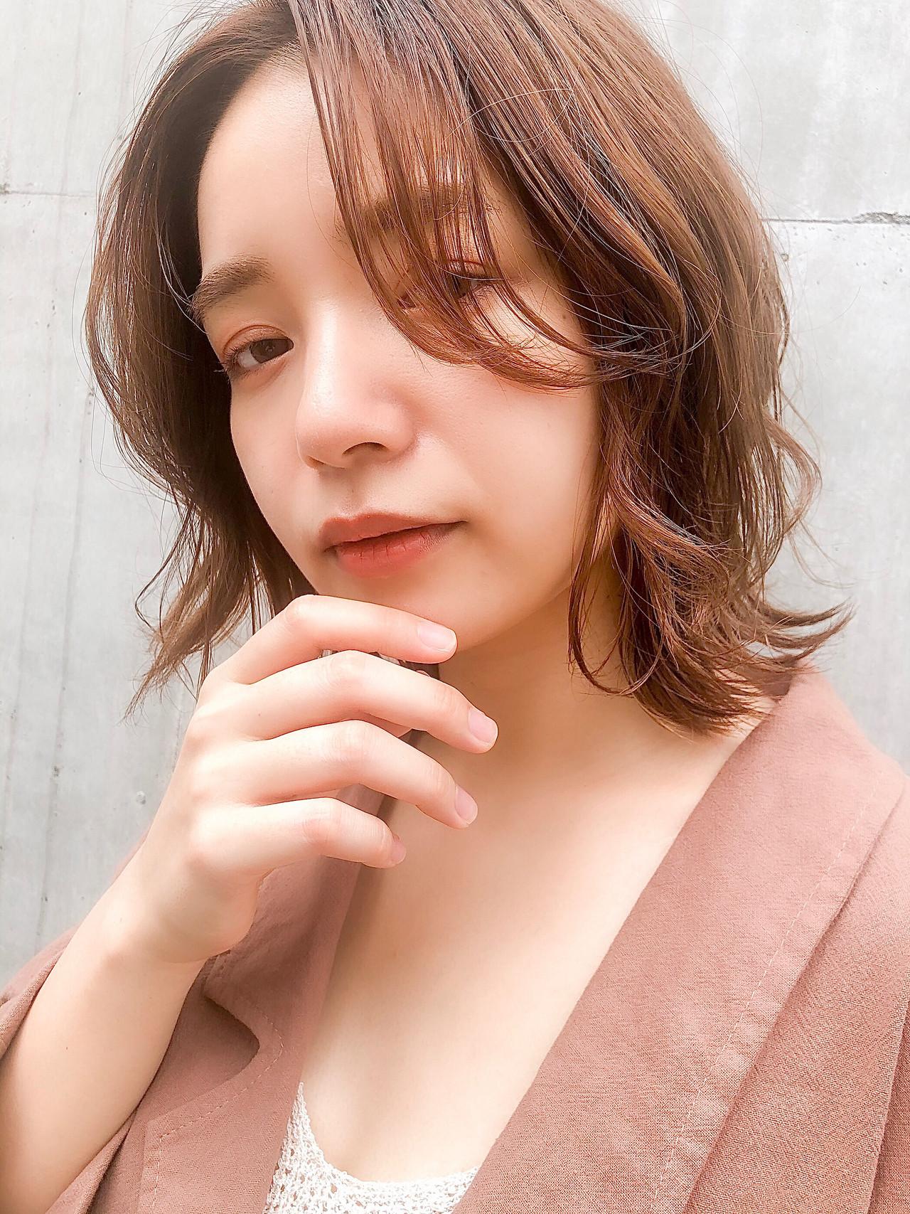 インナーカラー ロブ ナチュラル ハイライト ヘアスタイルや髪型の写真・画像