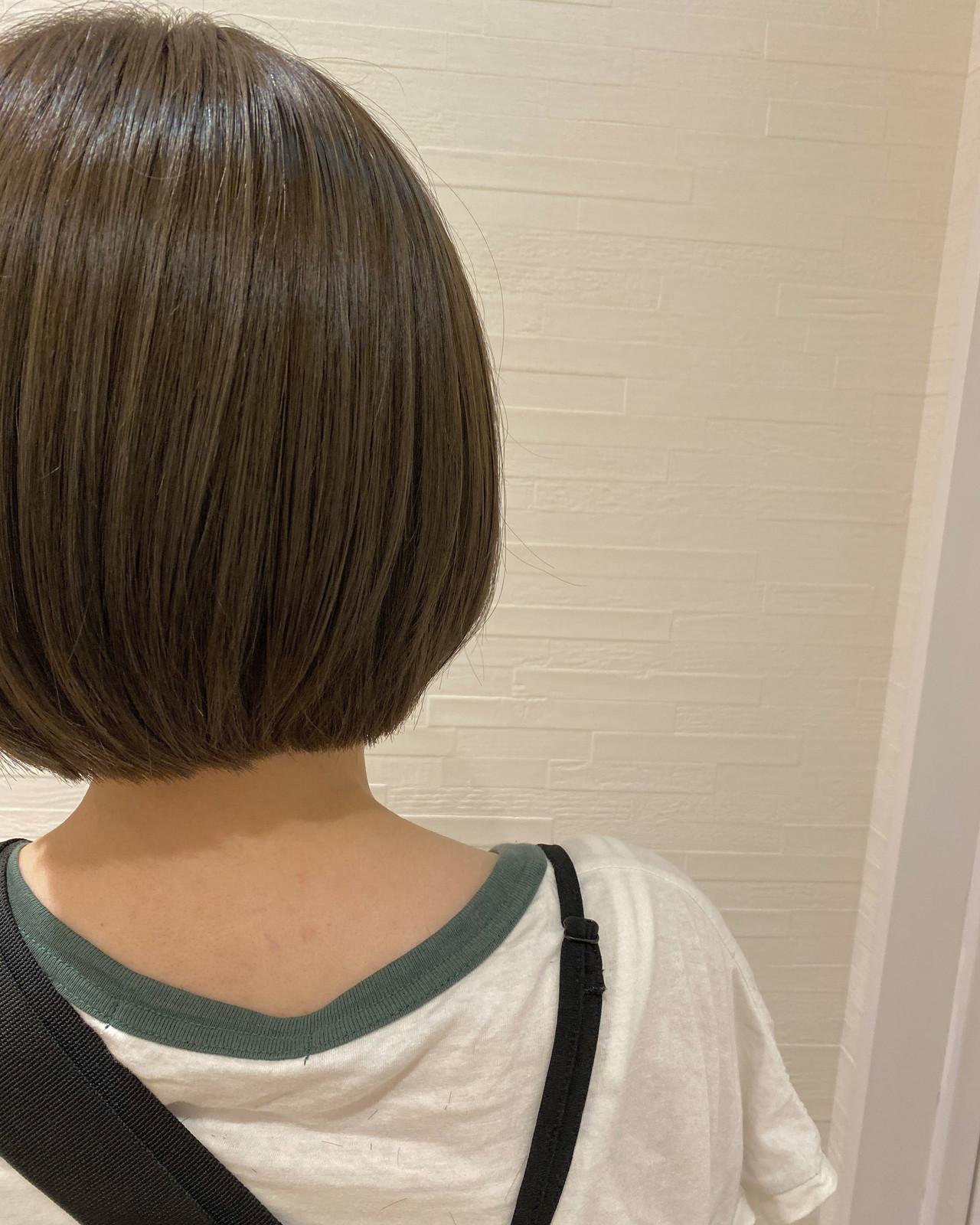 グレージュ ボブ ミニボブ ナチュラル ヘアスタイルや髪型の写真・画像 | 中嶋 緋美香 / VISAGEdio