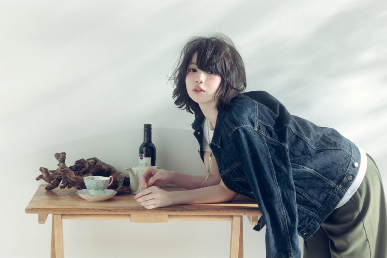 ボブ パーマ ミディアム 大人かわいい ヘアスタイルや髪型の写真・画像   木村辰也 / ofhair 鷺沼店