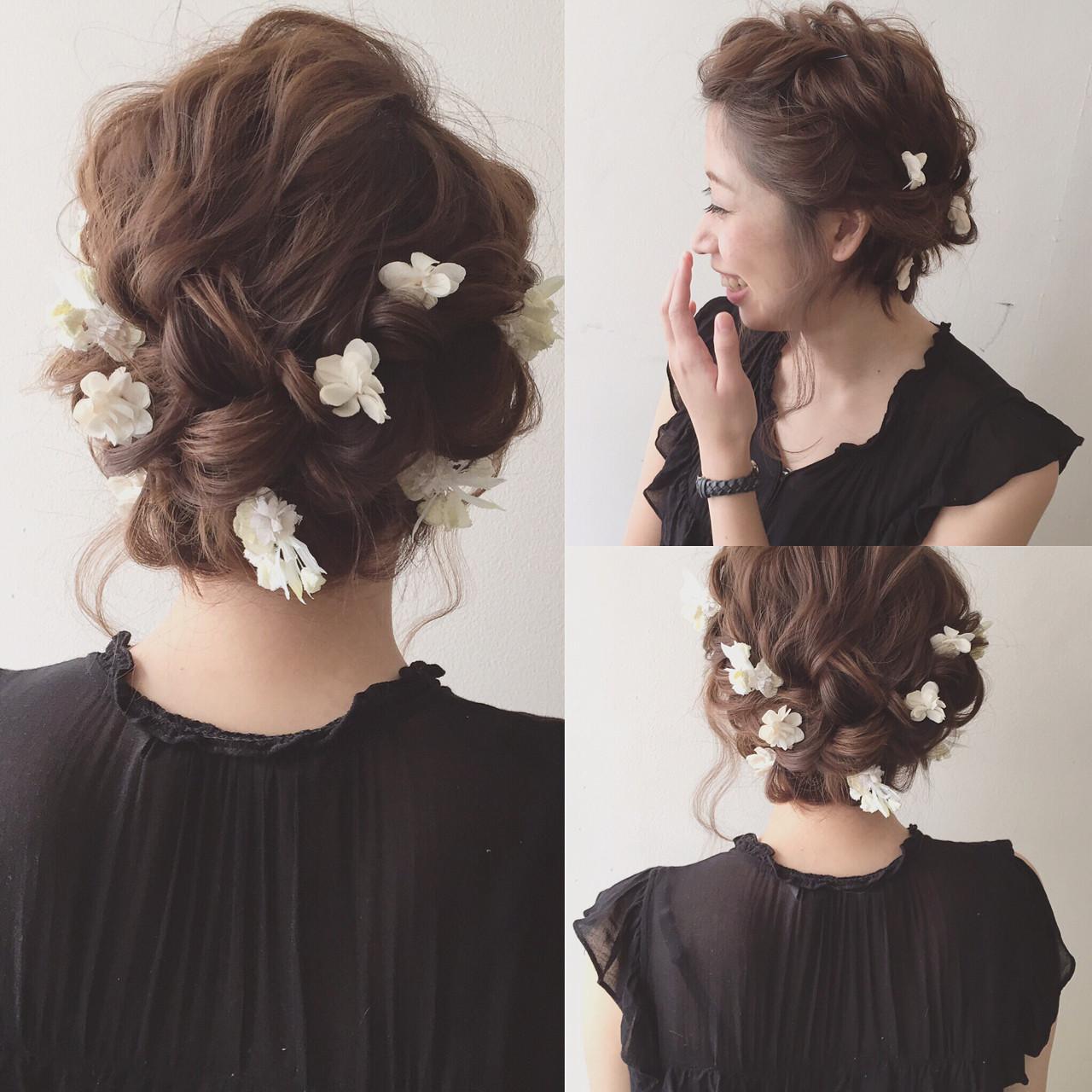 夏 簡単ヘアアレンジ 結婚式 ショート ヘアスタイルや髪型の写真・画像 | Kaneko Mayumi / BOTTOMS