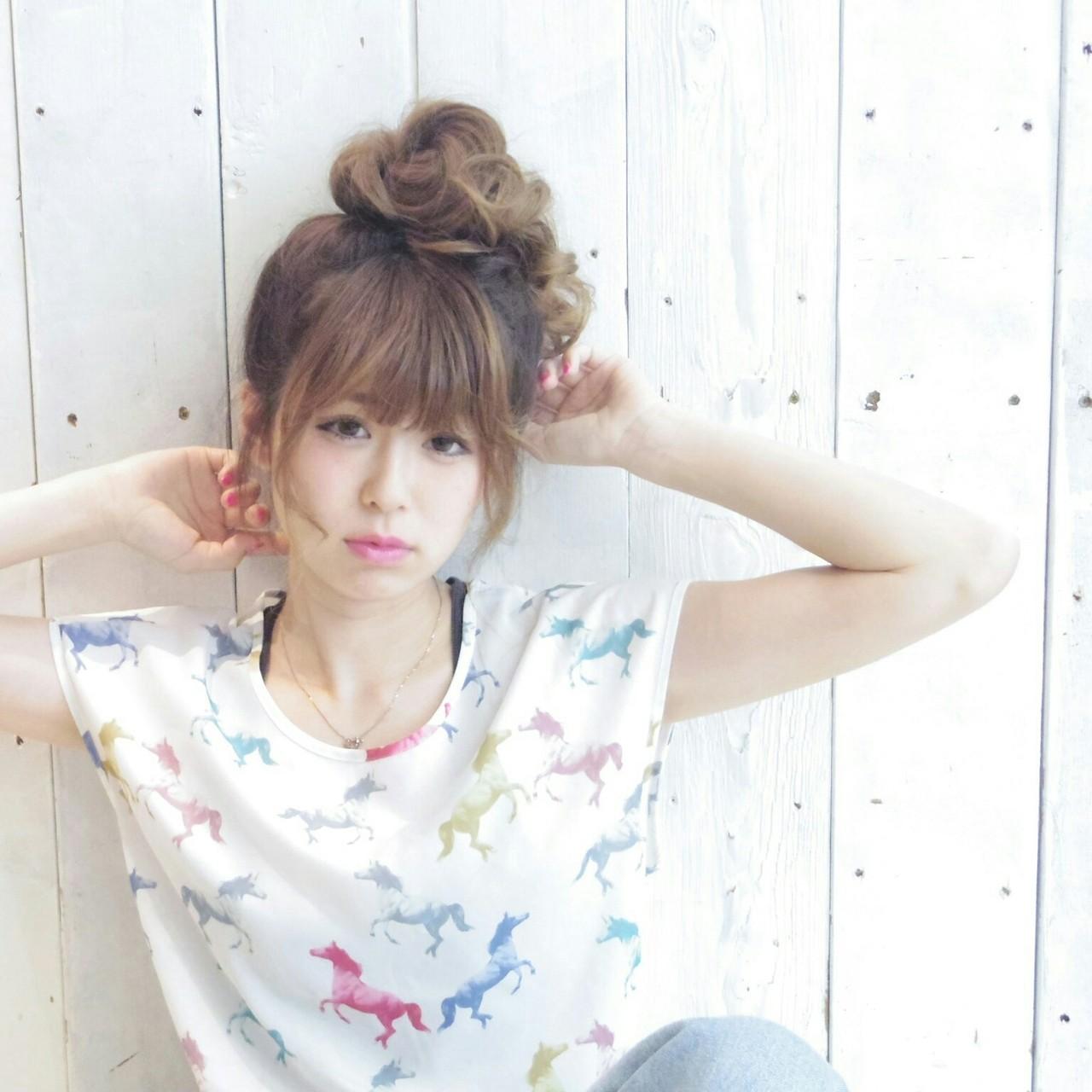 お団子 アウトドア デート 簡単ヘアアレンジ ヘアスタイルや髪型の写真・画像 | KUMA / hair make PUR