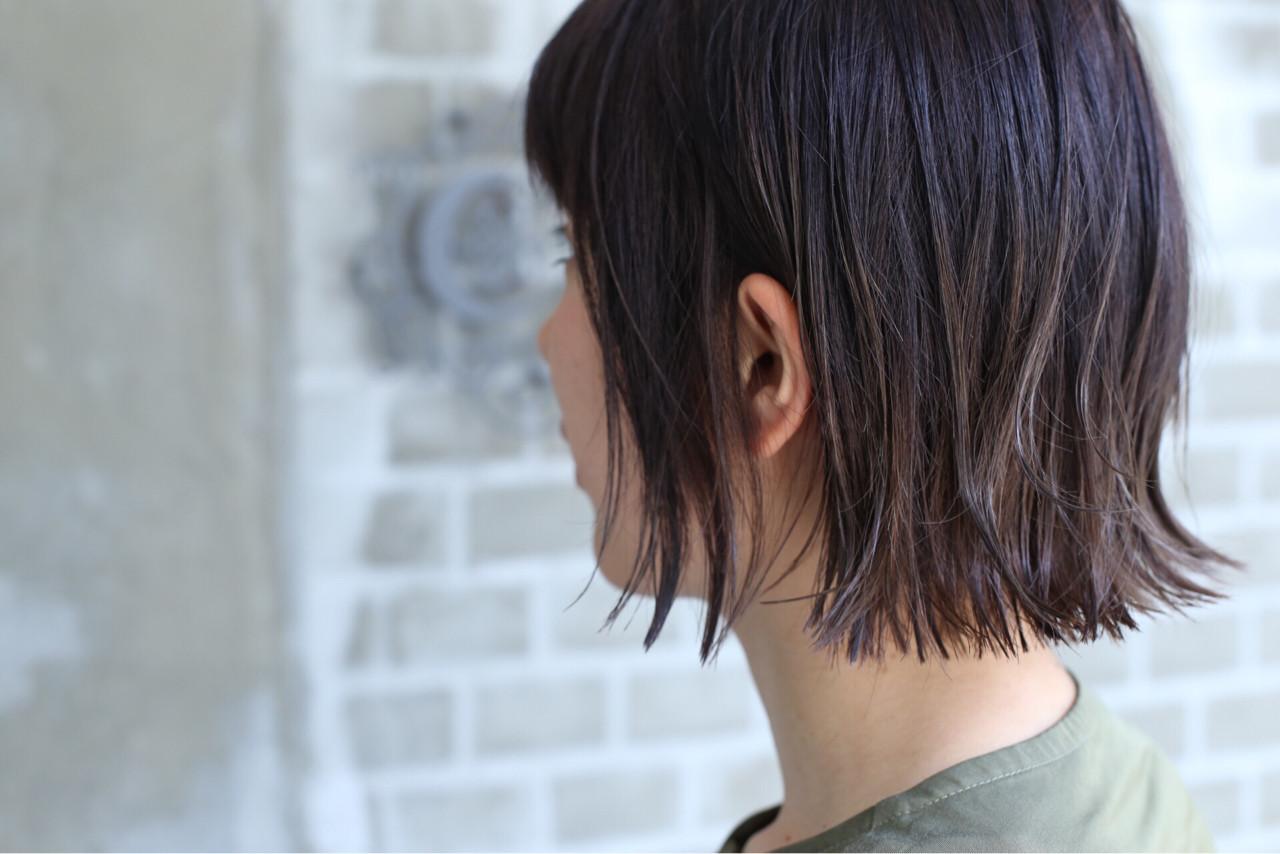 外ハネ ハイライト アッシュ グラデーションカラー ヘアスタイルや髪型の写真・画像 | 漁野 陽介 / cache  nakazaki