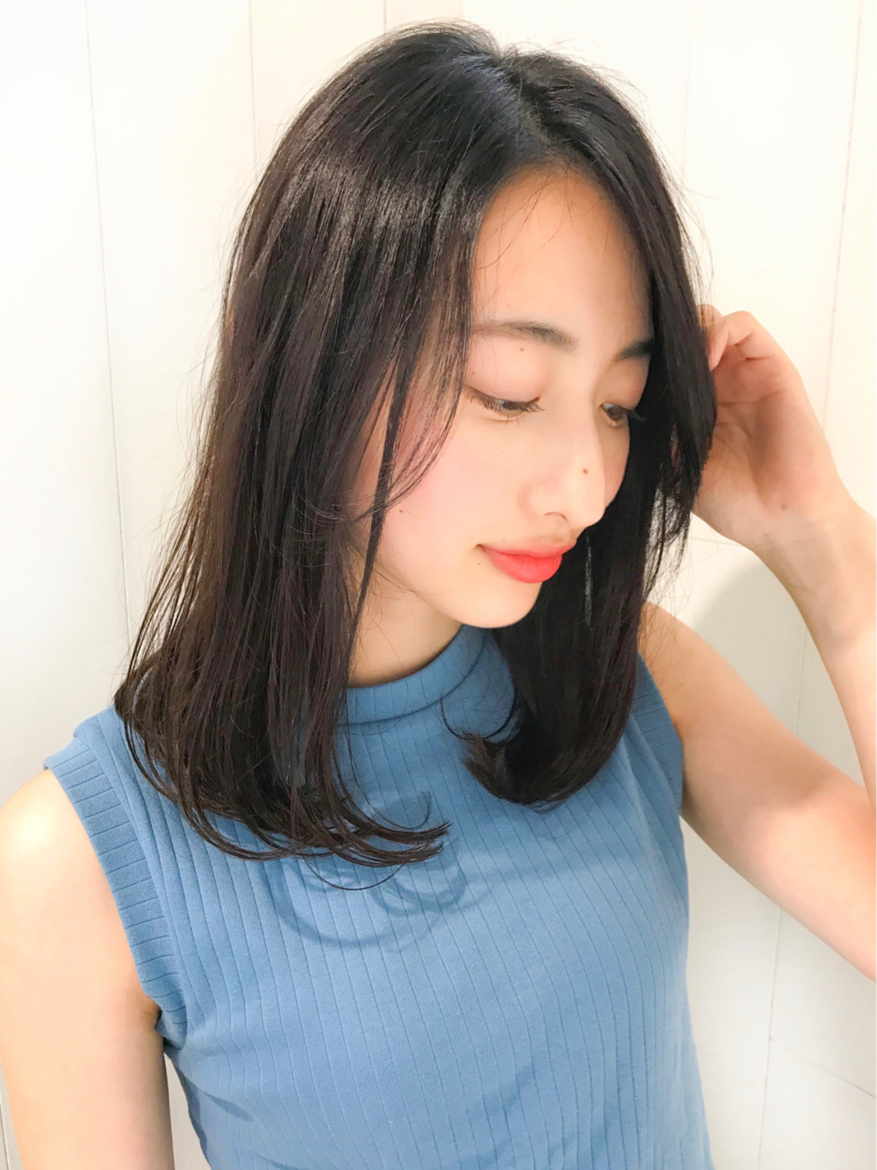 ストレート 前髪あり 大人かわいい ナチュラルヘアスタイルや髪型の写真・画像