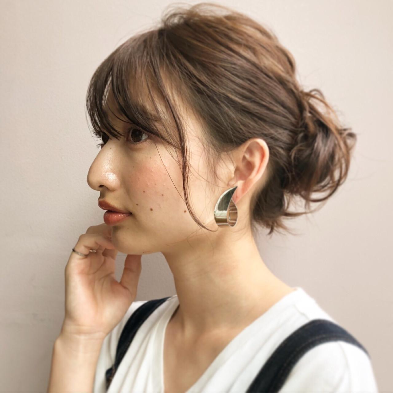 ナチュラル 夏 ヘアアレンジ ミディアムヘアスタイルや髪型の写真・画像