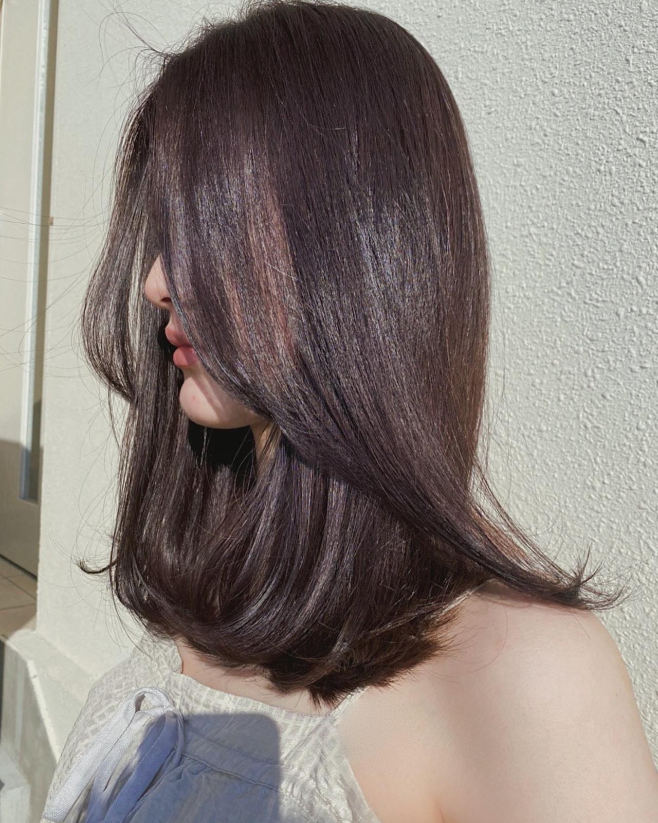 セミロング ラベンダーカラー ピンクブラウン ラベンダーピンクヘアスタイルや髪型の写真・画像